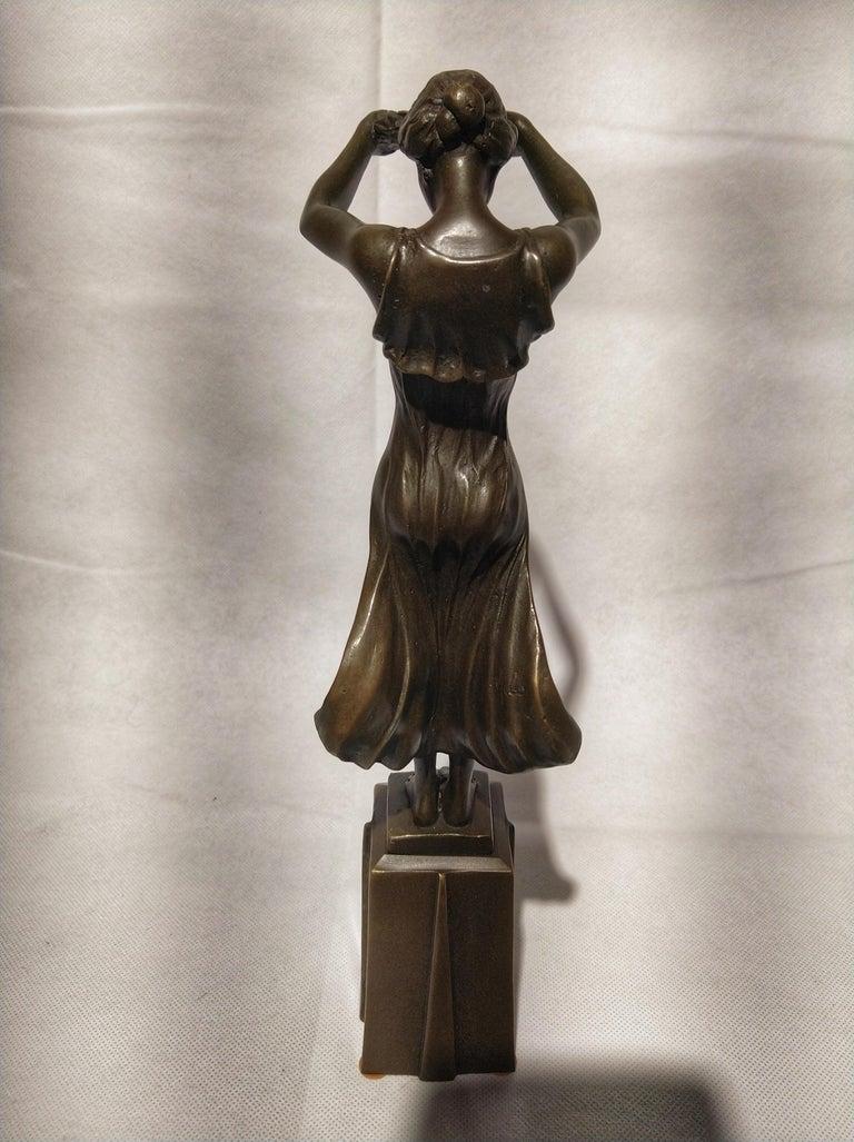 Portuguese 20th Century Art Deco Sculpture Figure Bronze Nymph Daphne By Milo For Sale