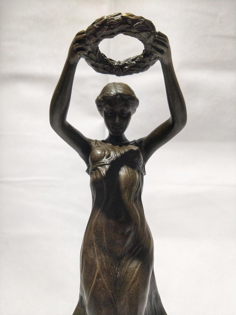 Patinated 20th Century Art Deco Sculpture Figure Bronze Nymph Daphne By Milo For Sale
