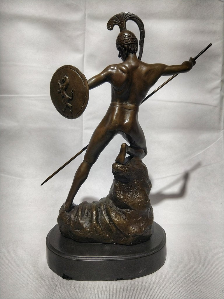 Patinated 20th Century Sculpture Figure Bronze Mars God of War or Achilles For Sale