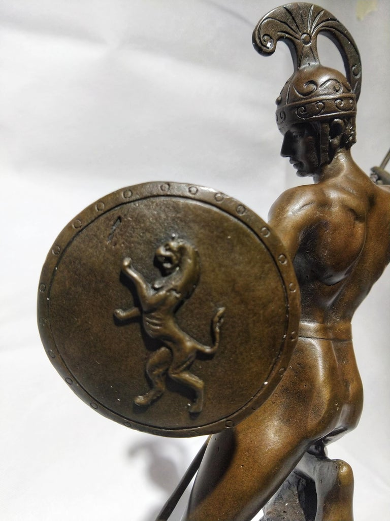 20th Century Sculpture Figure Bronze Mars God of War or Achilles In Excellent Condition For Sale In Toledo, Castilla La Mancha