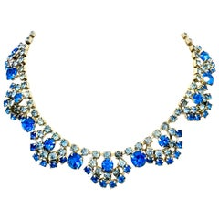20th Century Art Deco Silver & Austrian Blue Sapphire Crystal Choker Necklace