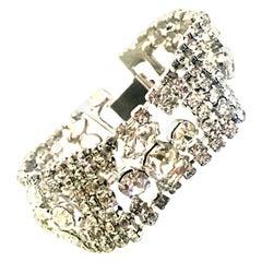 20th Century Art Deco Silver & Austrian Crystal Link Bracelet