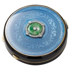 20th Century Art Deco Silver Enamel Diamond and Jade Compact