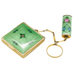 20th Century Art Deco Silver Enamel Powder Case