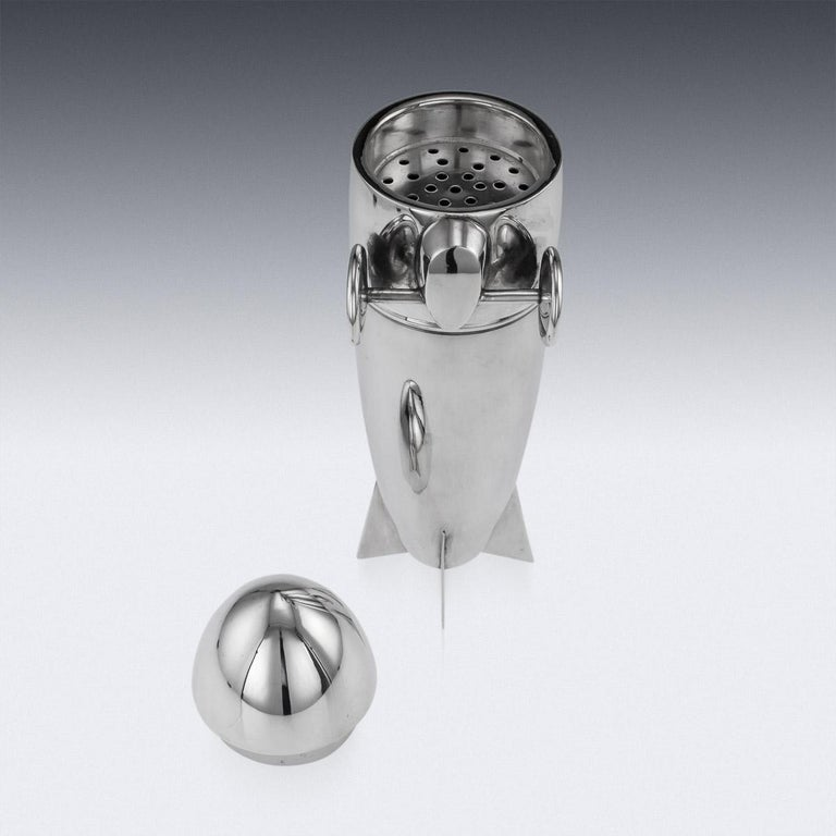20th Century Art Deco Silver Plated Zeppelin Cocktail Shaker For Sale 3