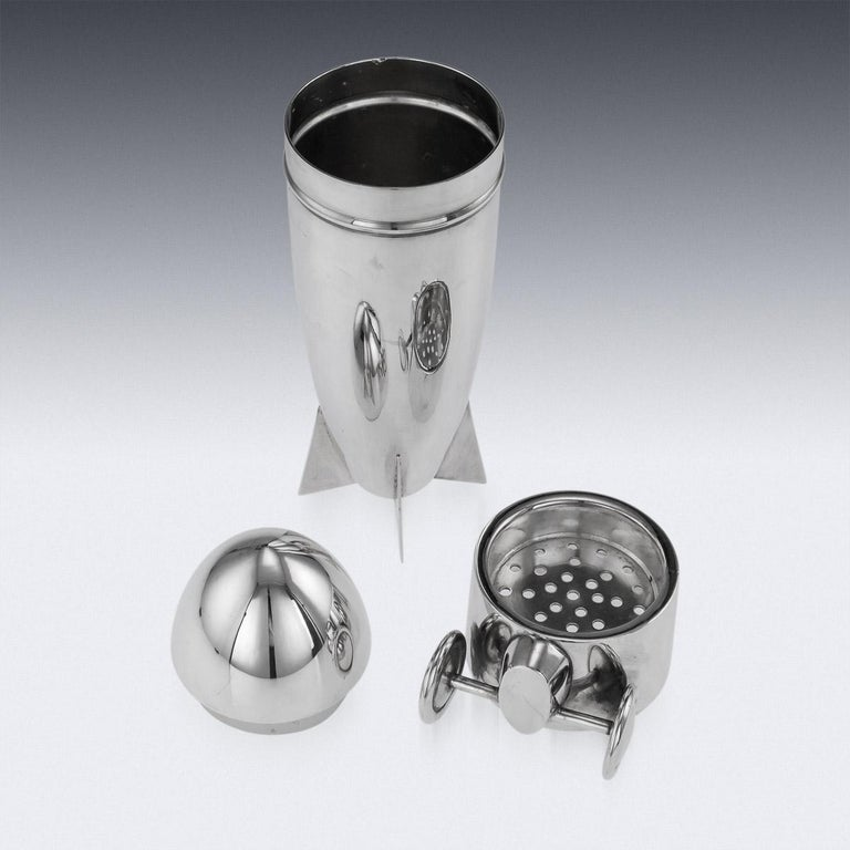 20th Century Art Deco Silver Plated Zeppelin Cocktail Shaker For Sale 4