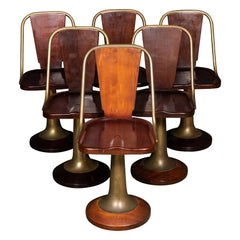 20th Century Art Deco Six Mahogany & Brass Swivel Chairs, Giuseppe Verdi c.1915