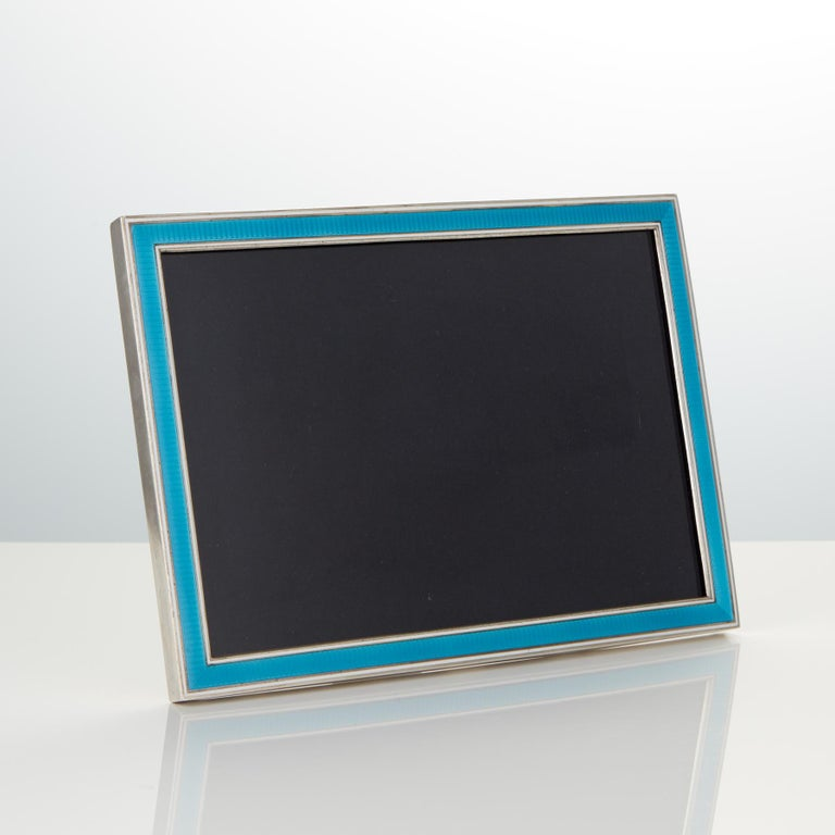 French 20th Century Art Deco Sterling Silver and Enamel Photo Frame, France, circa 1925 For Sale