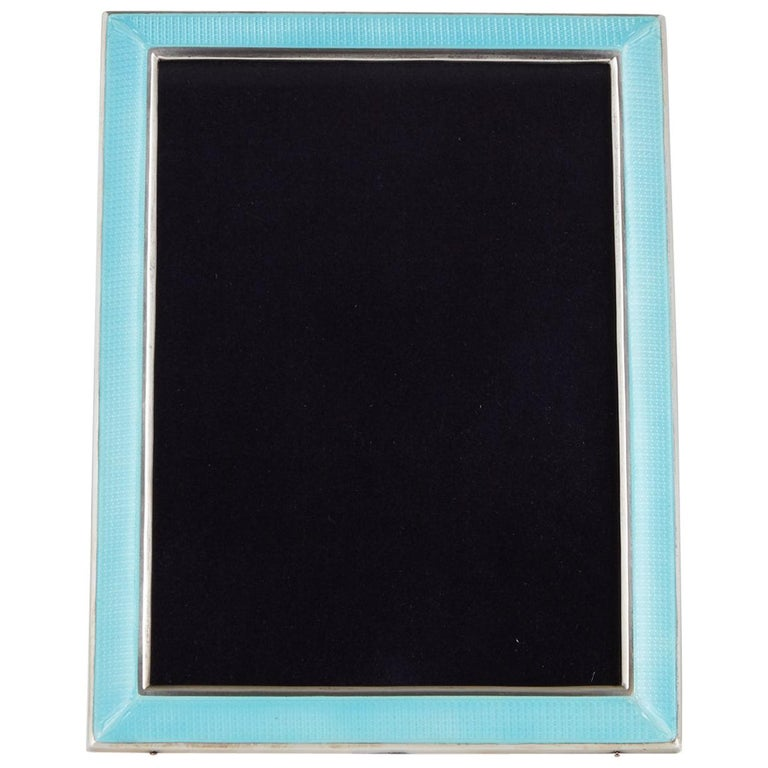 20th Century Art Deco Sterling Silver and Enamel Photograph Frame, circa 1925