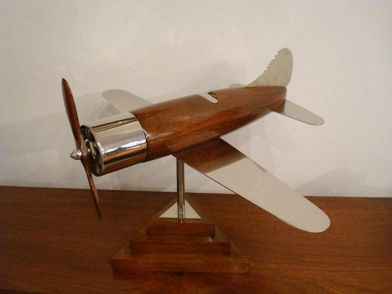 20th Century, Art Deco Streamline Airplane Wooden Model Sculpture, 1930s For Sale 9