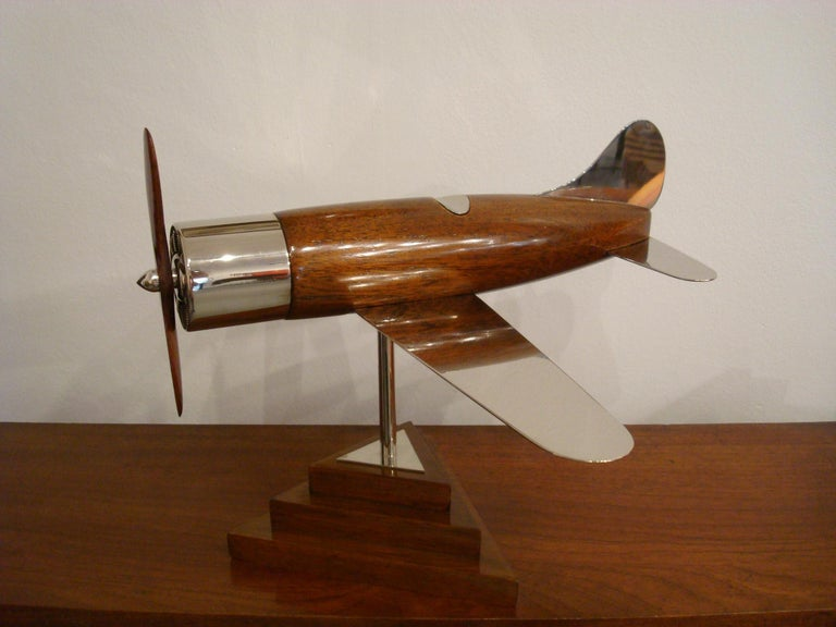 Silvered 20th Century, Art Deco Streamline Airplane Wooden Model Sculpture, 1930s For Sale