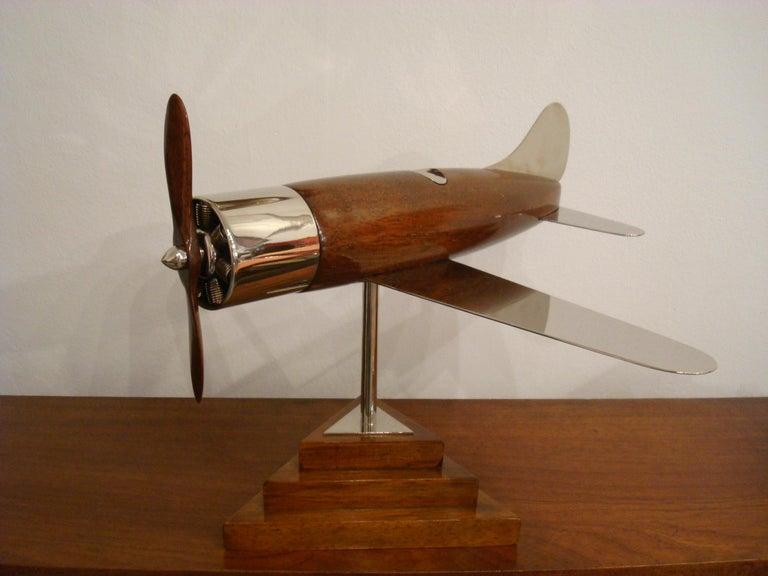 20th Century, Art Deco Streamline Airplane Wooden Model Sculpture, 1930s For Sale 1