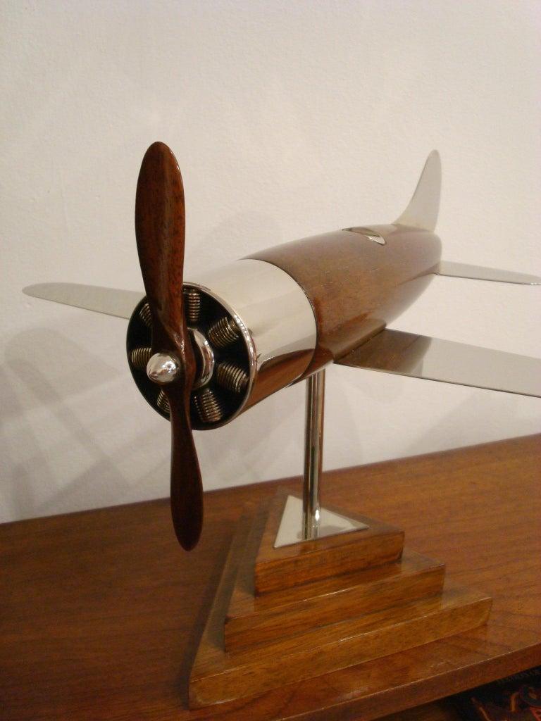 20th Century, Art Deco Streamline Airplane Wooden Model Sculpture, 1930s For Sale 4