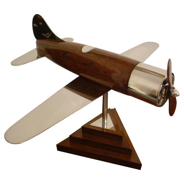 20th Century, Art Deco Streamline Airplane Wooden Model Sculpture, 1930s For Sale