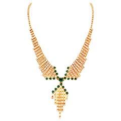 20th Century Art Deco Style Gold & Austrian Crystal Tassel Necklace