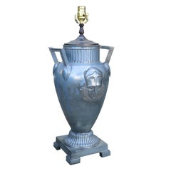 20th Century Art Deco Style Metal Urn with Face as Lamp