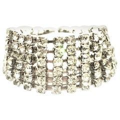 20th Century Art Deco Style Silver & Austrian Crystal Link Bracelet