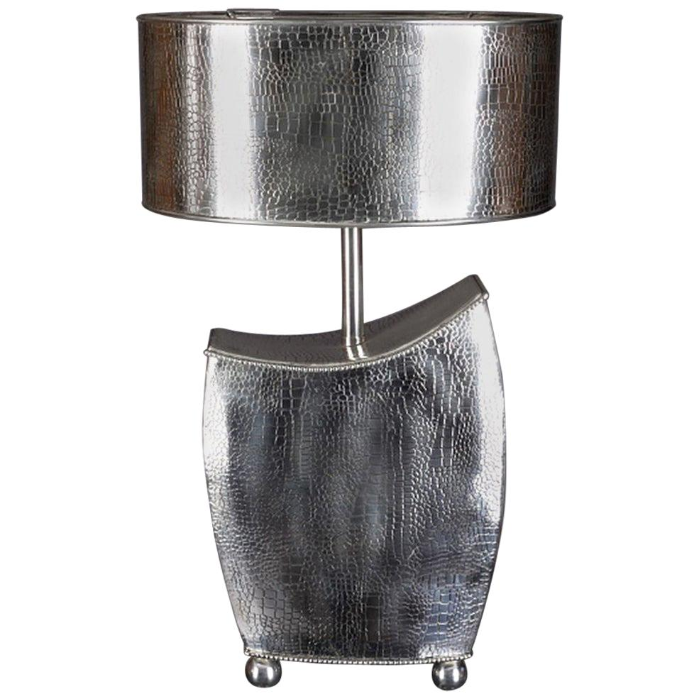 20th Century Art Deco Style Table Lamp, Silver Plated