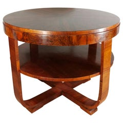 20th Century Art Deco Walnut Round Side Table