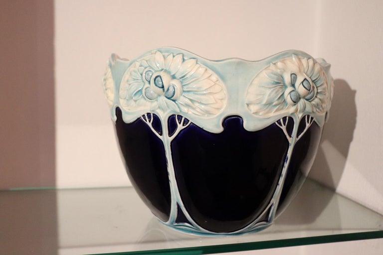 Early 20th Century 20th Century Art Nouveau Blue Ceramic Vase, 1920s For Sale