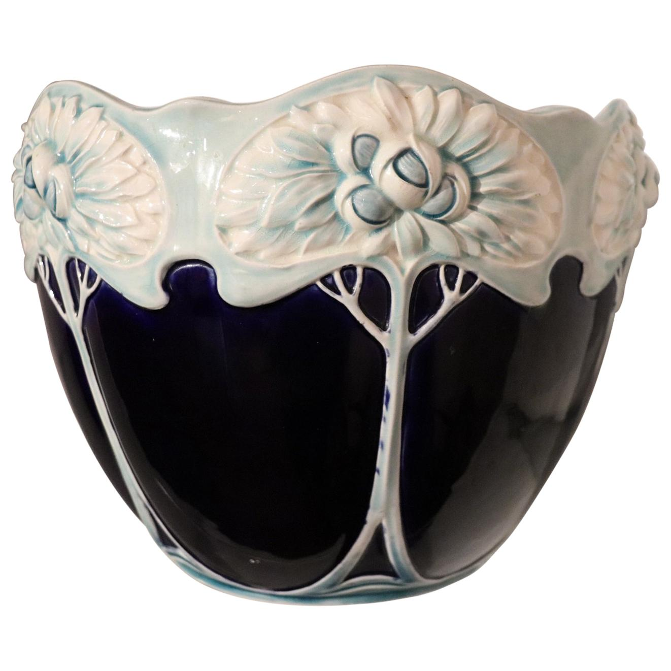 20th Century Art Nouveau Blue Ceramic Vase, 1920s