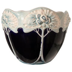 20th Century Art Nouveau Blue Ceramic Vase, 1920s