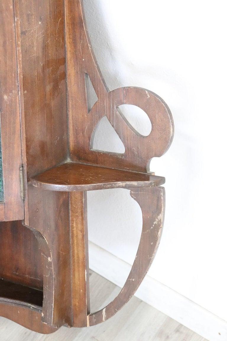 20th Century Art Nouveau Corner Cupboard or Corner Cabinet in Poplar Wood In Good Condition For Sale In Bosco Marengo, IT