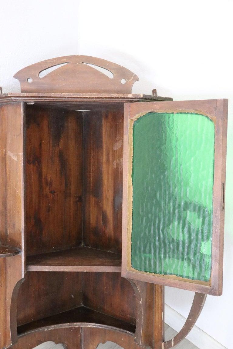 20th Century Art Nouveau Corner Cupboard or Corner Cabinet in Poplar Wood For Sale 1