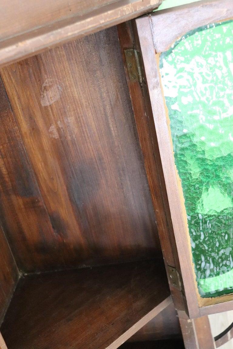 20th Century Art Nouveau Corner Cupboard or Corner Cabinet in Poplar Wood For Sale 2