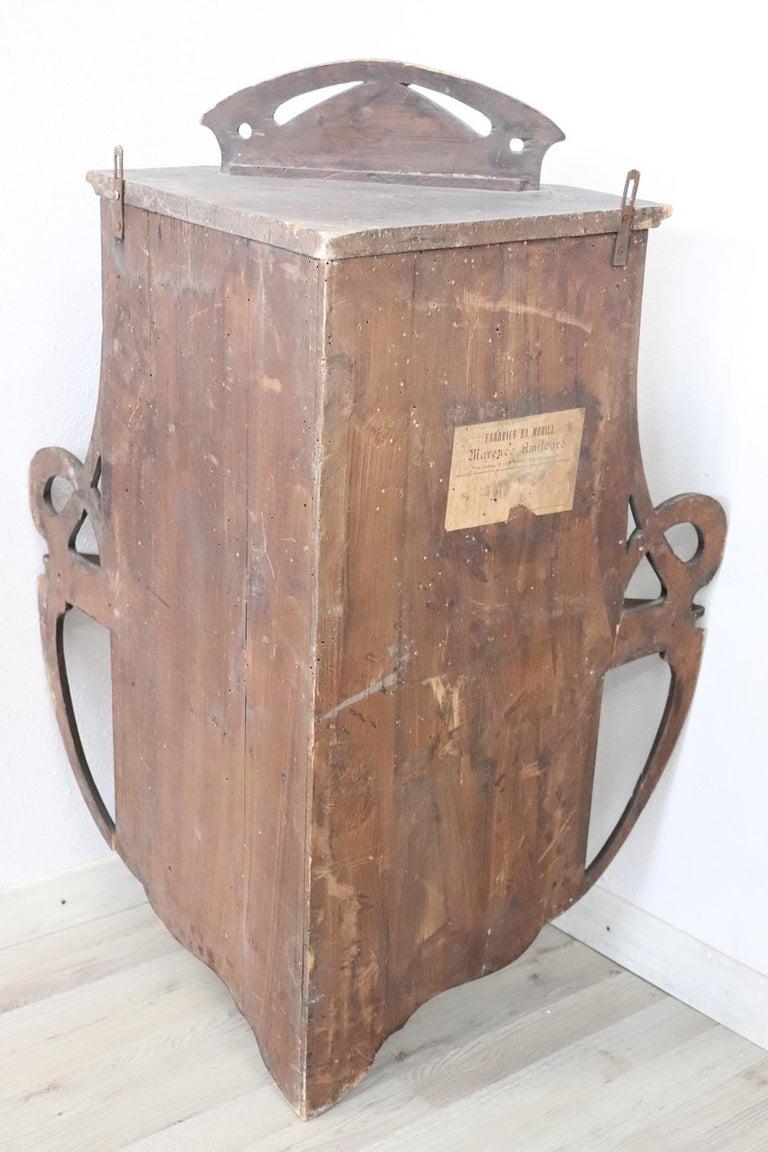 20th Century Art Nouveau Corner Cupboard or Corner Cabinet in Poplar Wood For Sale 3