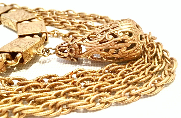20th Century Art Nouveau Gold Book Chain Choker Style Necklace & Earrings S/3 For Sale 1