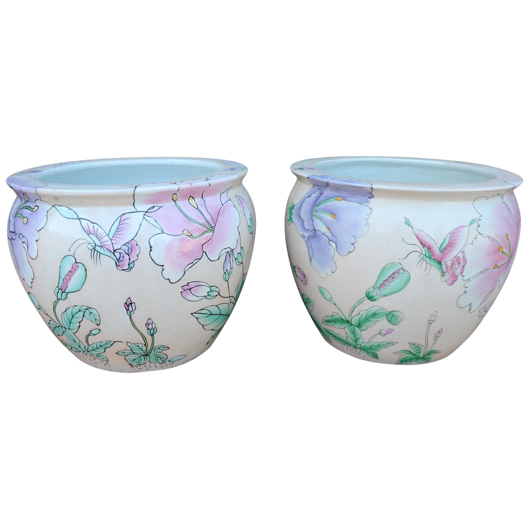 20th Century Art Nouveau Hand Painted Pair of Ceramic Vase