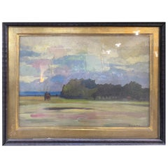 20th Century Art Nouveau Italian Painting Renato Natali Tuscan Countryside 1930s