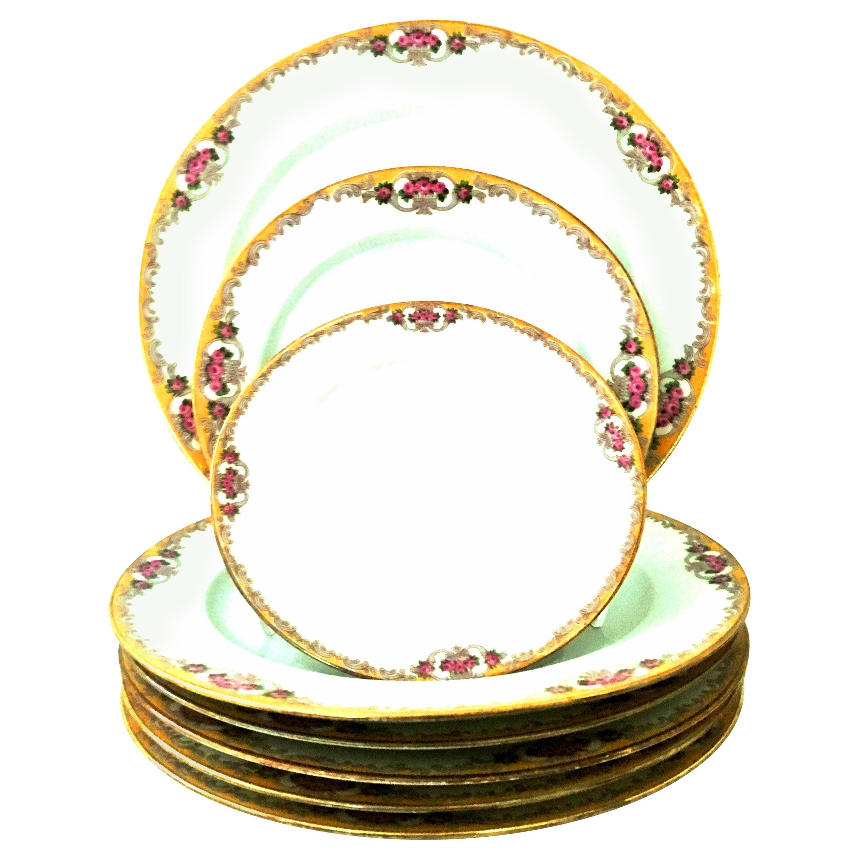 20th Century Art Nouveau Limoges France Dinnerware Set of 17 by, M. Redon