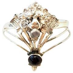 20th Century Art Nouveau Sterling Garnet & Moonstone Cuff Bracelet By, Giampaoli