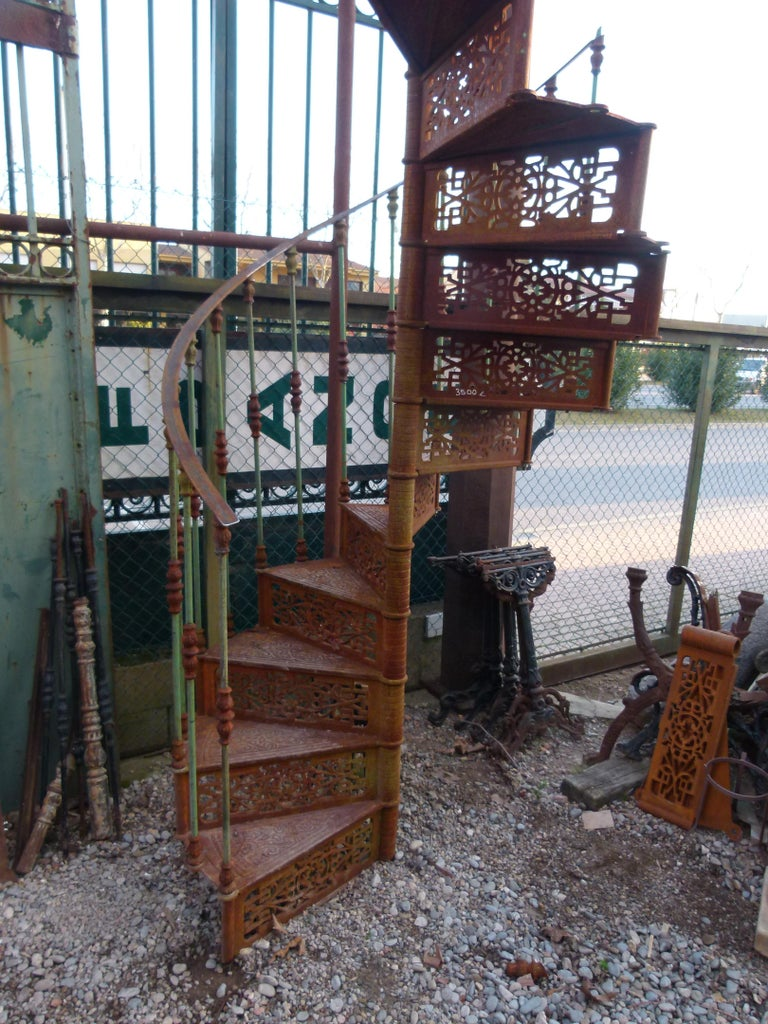 20th century Art Nouveau style spiral staircase from Spain in good condition and easy to assemble.   This stair belonged to an old factory that closed at the end of the 20th century in Spain. This staircase was missing the rail and was added new