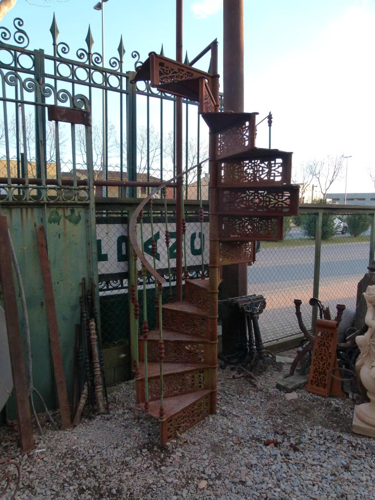 Spanish 20th Century Art Nouveau Style Iron Spiral Staircase For Sale