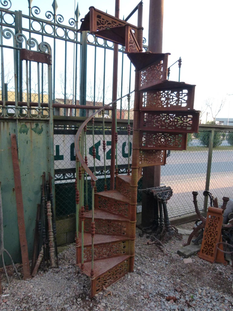 Cast 20th Century Art Nouveau Style Iron Spiral Staircase For Sale