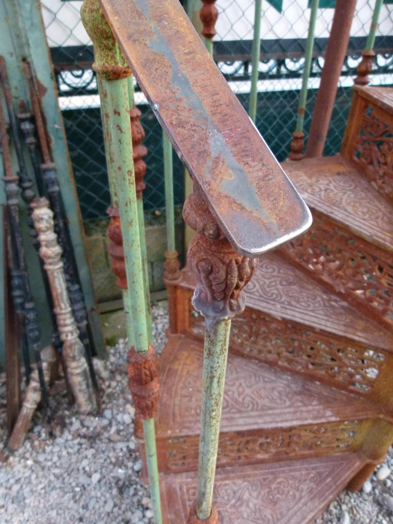20th Century Art Nouveau Style Iron Spiral Staircase For Sale 3