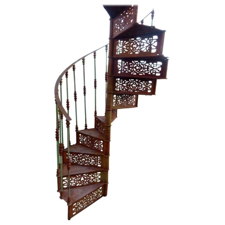 20th Century Art Nouveau Style Iron Spiral Staircase For Sale