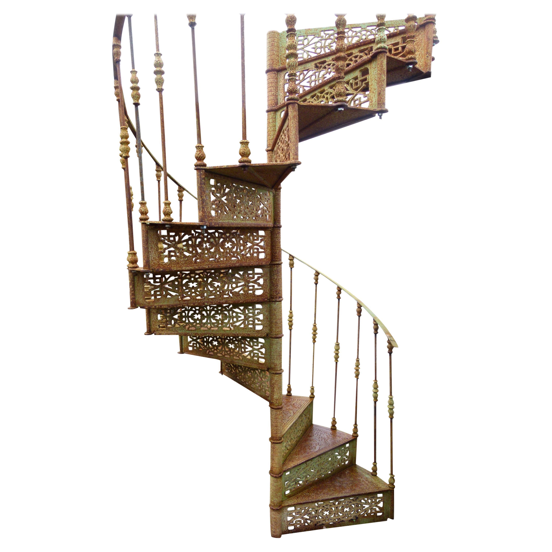 20th Century Art Nouveau Style Iron Spiral Staircase
