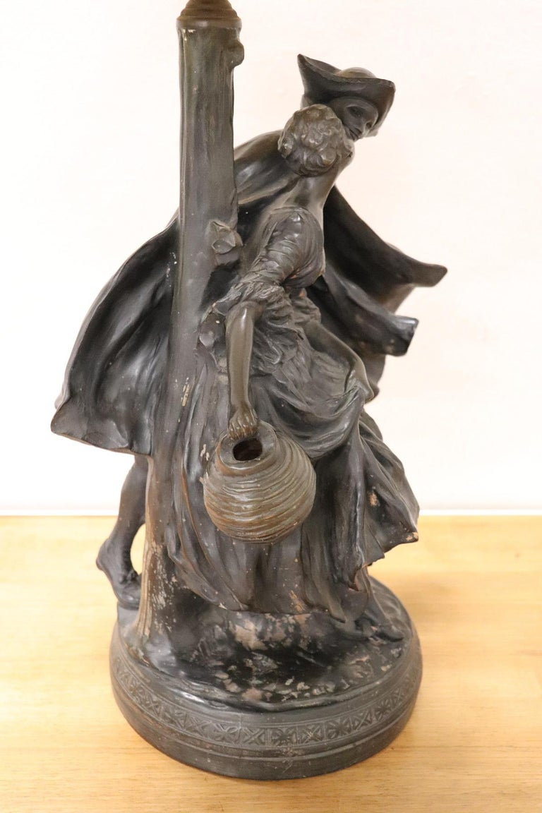 20th Century Art Nouveau Table Lamp with Sculpture in Clay, Couple in Love 1920s For Sale 3
