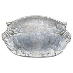 20th Century Arthur Court Pig Aluminum Tray Plate Platter, 1982