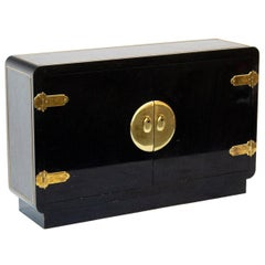 20th Century Asian Inspired Black Lacquered Cabinet by Mastercraft