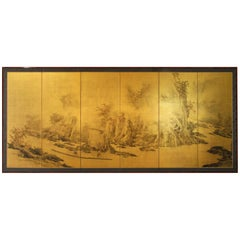 20th Century Asian Japanese Folding Screen Landscape, Sansui Gold Leaf