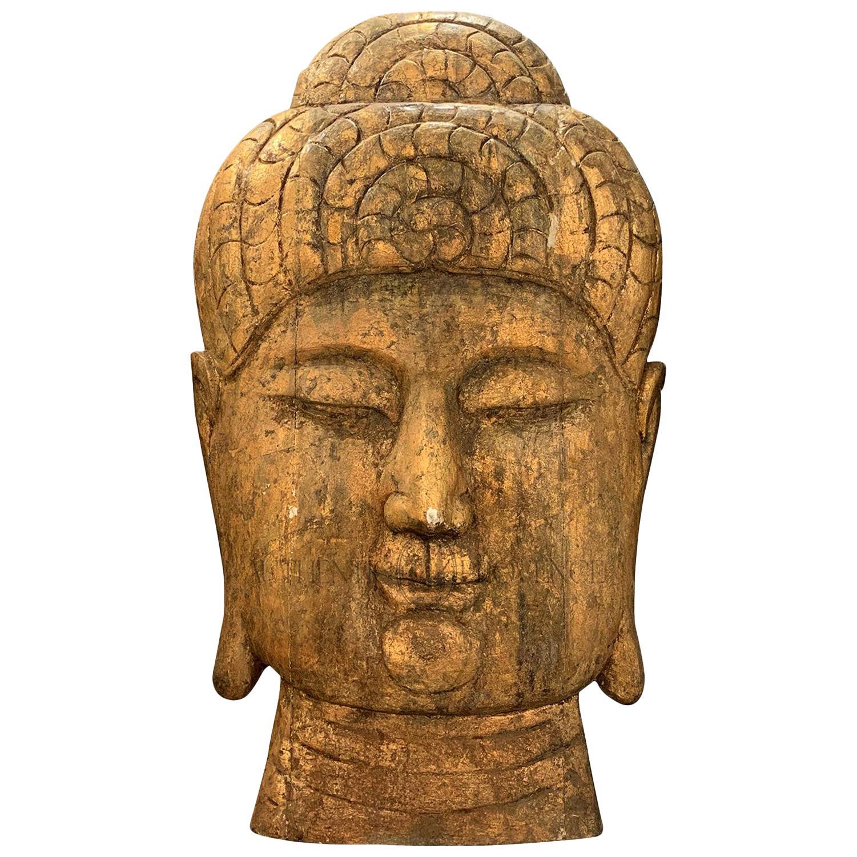 20th Century Asian Oversized Wood Buddha Head