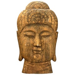 20th Century Asian Oversized Wood Buddha Head