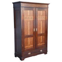 20th Century Austrian Art Nouveau Mahogany Wardrobe Cabinet, Restored, 1910s