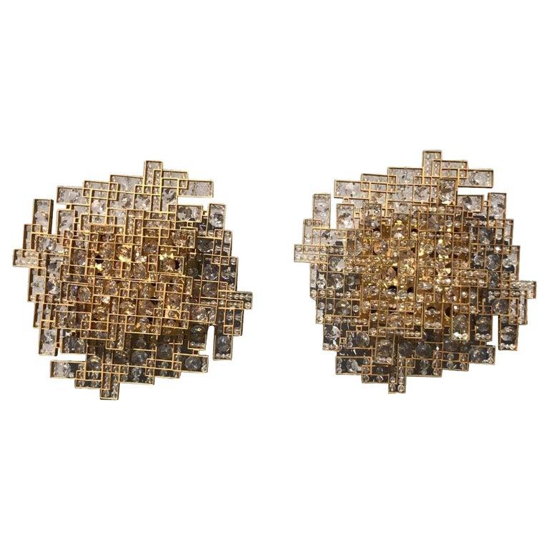 20th Century Austrian Pair of Brass Wall Sconces by J.& L. Lobmeyr