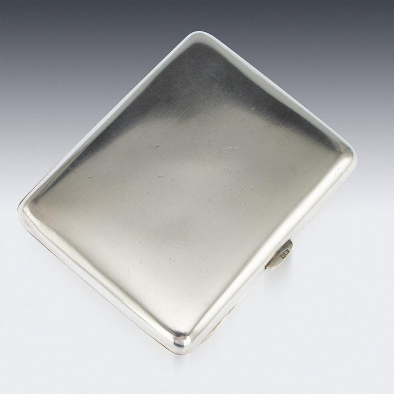 20th Century Austrian Solid Silver and Enamel Cigarette Case, G.A.S, circa 1910 In Good Condition In Royal Tunbridge Wells, Kent